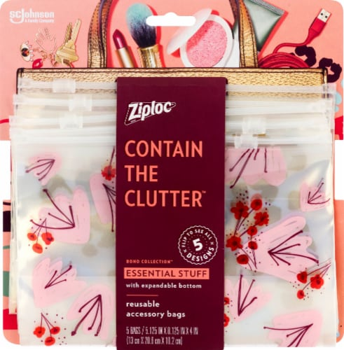 Ziploc Boho Collection Essential Stuff Reusable Accessory Bags Perspective: front