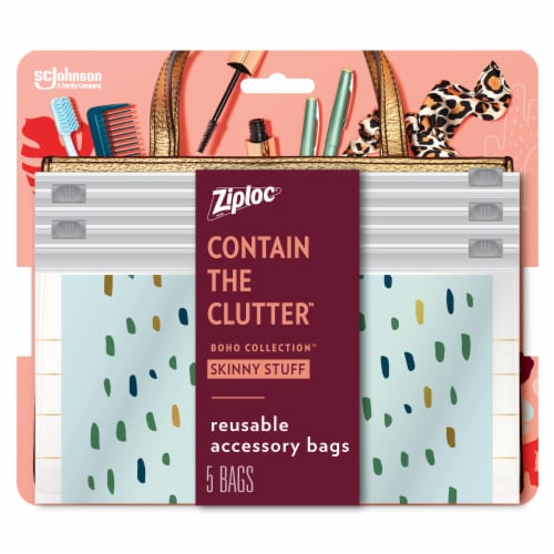 Ziploc Boho Collection Skinny Stuff Reusable Accessory Bags Perspective: front