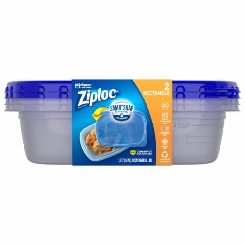 Ziploc Smart Snap Rectangle Food Storage Containers - 2 Pack Perspective: front