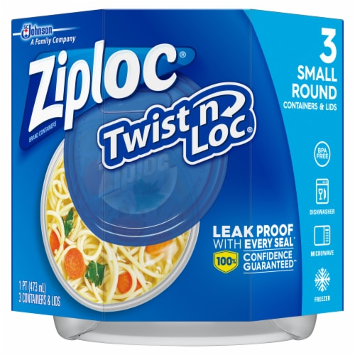 Ziploc Twist n Loc  Round Storage Pint Containers & Lids - Clear/Blue Perspective: front
