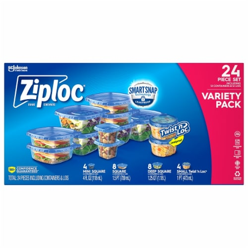 Ziploc Container Variety Set - Clear/Blue Perspective: front