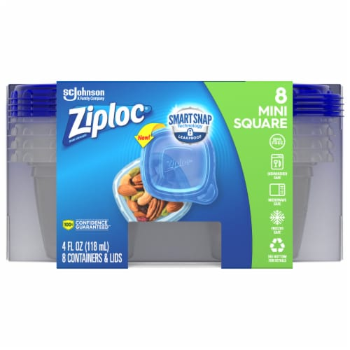 Ziploc Extra Small Square One-Press Seal Containers & Lids Perspective: front