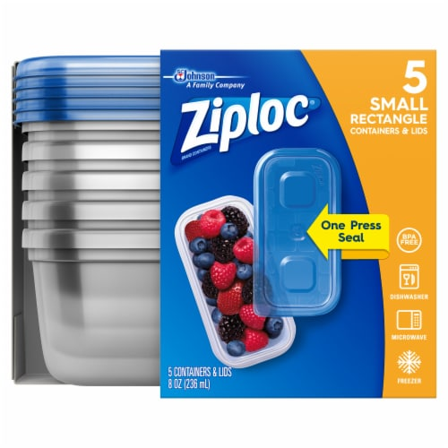 Ziploc One Press Seal Rectangular 8 Oz Storage Containers & Lids Perspective: front
