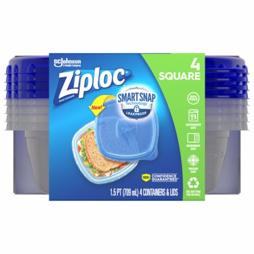Ziploc One Press Seal Small Square Storage Containers & Lids - Clear/Blue Perspective: front