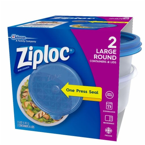 Ziploc Round Large Storage Container - 2 Pack - Blue/Clear Perspective: front