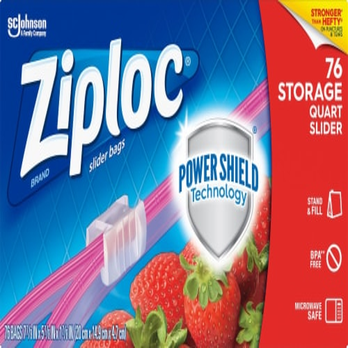 Ziploc Slider Quart Storage Bags Perspective: front