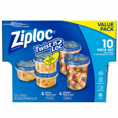 Ziploc Twist n Loc Value Pack Containers and Lids Perspective: front