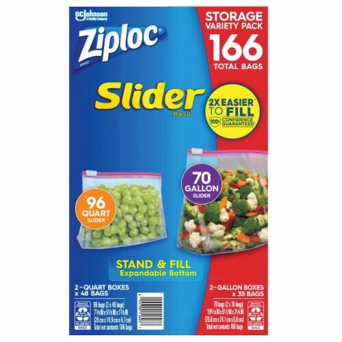 Ziploc Slider Storage Bag, Variety Pack, 166-count Perspective: front