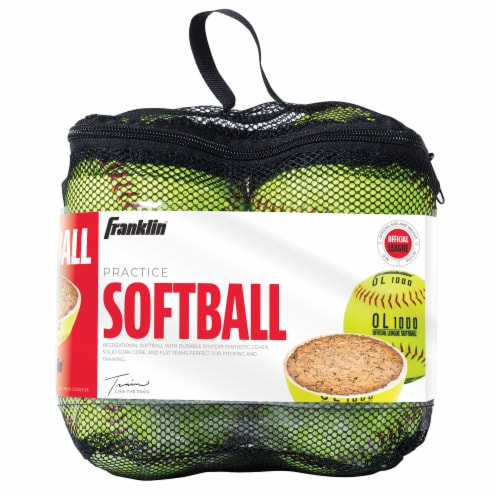 Franklin Official League Softballs - Yellow Perspective: front