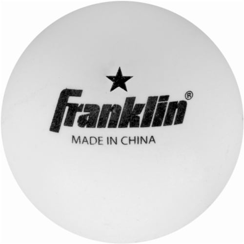 Franklin 40mm 1 Star White Table Tennis Balls Perspective: front