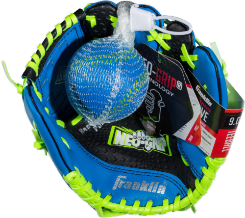 Franklin Neo-Grip® Series Baseball Glove and Ball Set - Blue/Lime Green Perspective: front