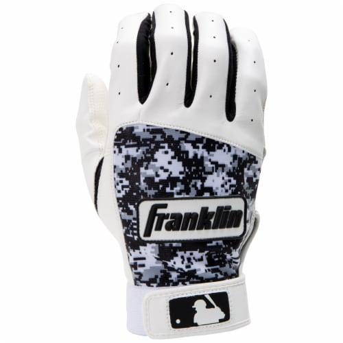 Franklin Digitek Youth Batting Gloves - White/Gray/Black Perspective: front