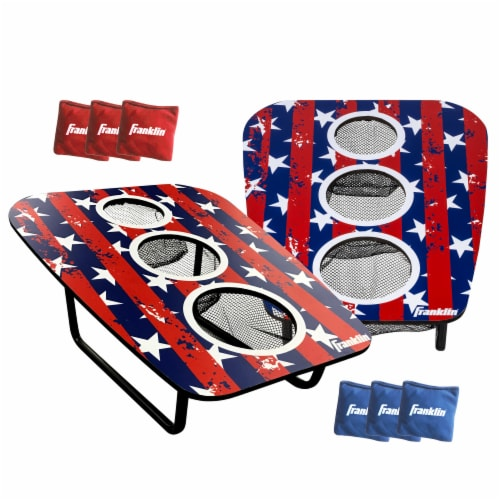 Franklin USA 3-Hole Bean Bag Toss Yard Game – Red/White/Blue Perspective: front