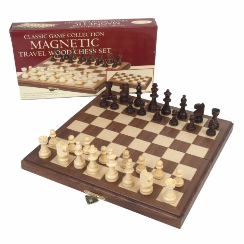 John N. Hansen Co. Travel Magnetic Walnut Chess Set Perspective: front