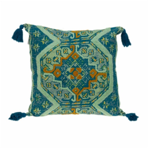 Parkland Collection Lotus Transitional Teal Throw Pillow Perspective: front