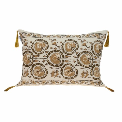 Parkland Collection Venus Transitional Beige Throw Pillow Perspective: front