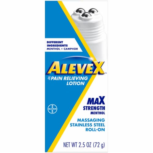 Aleve X™ Max Strength Massaging Stainless Steel Roll-On Pain Relieving Lotion Perspective: front