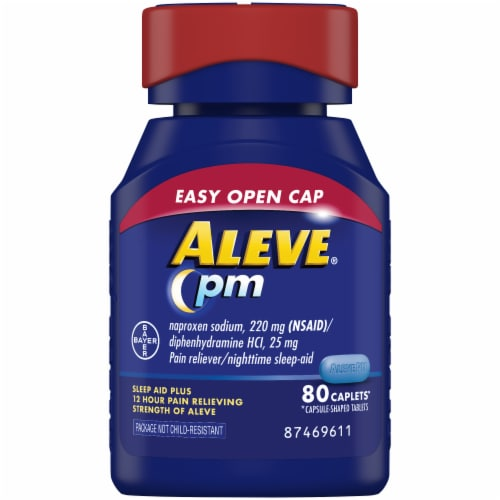 Aleve® PM Pain Reliever & Nighttime Sleep-Aid Caplets Perspective: front