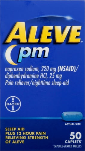 Aleve PM Pain Reliever & Nighttime Sleep-Aid Caplets Perspective: front