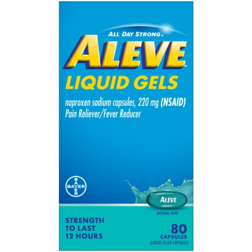 Aleve® Naproxen Sodium Pain Reliever/Fever Reducer Liquid Gel Capsules 220mg Perspective: front