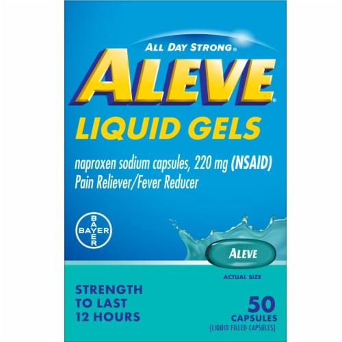 Aleve® Naproxen Sodium Pain Reliever/Fever Reducer Liquid Gels Capsules 220mg Perspective: front