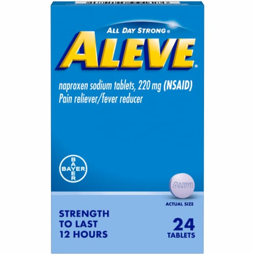 Aleve Naproxen Sodium Pain Reliever & Fever Reducer Tablets 220mg Perspective: front