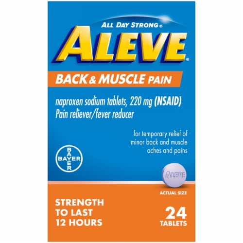 Aleve Back And Muscle Pain Naproxen Sodium Pain Reliever/Fever Reducer Tablets 220mg Perspective: front
