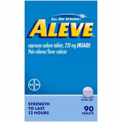 Aleve® Naproxen Sodium Pain Reliever & Fever Reducer Tablets Perspective: front