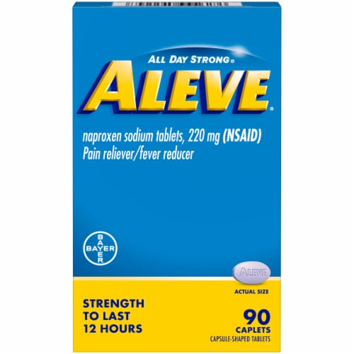 Aleve® Naproxen Sodium Pain Reliever/Fever Reducer Caplets 220mg Perspective: front