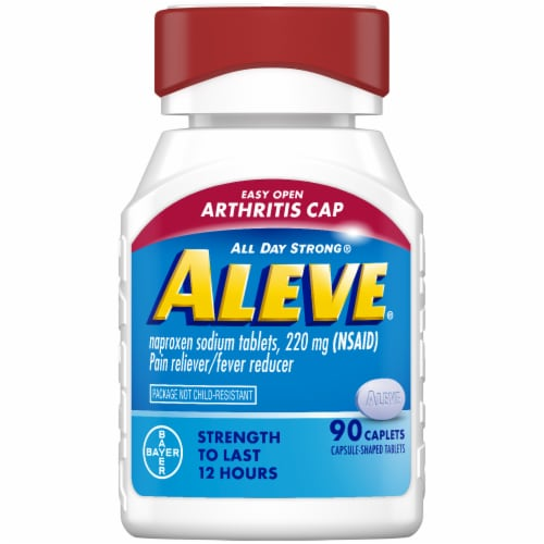 Aleve Naproxen Sodium Pain Reliever/Fever Reducer Caplets 220mg Perspective: front