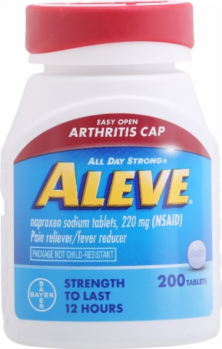 Aleve® Naproxen Sodium Pain Reliever and Fever Reducer Tablets 220mg Perspective: front