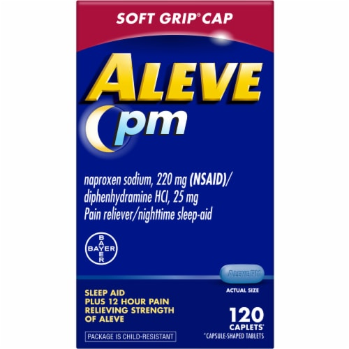 Aleve PM Soft Grip Cap Pain Reliever & Nighttime Sleep-Aid Caplets Perspective: front