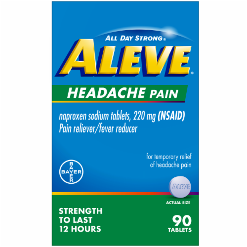 Aleve Naproxen Sodium Pain Reliever and Fever Reducer Tablets 220mg Perspective: front