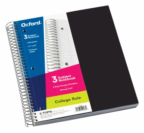 Oxford® College Rule 3 Subject Notebook Perspective: front