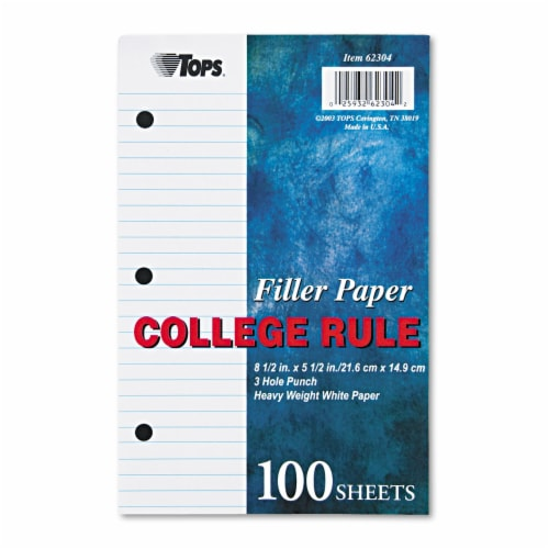 Tops Filler Paper, 3-Hole, 5.5 X 8.5, Medium/College Rule, 100/Pack 62304 Perspective: front
