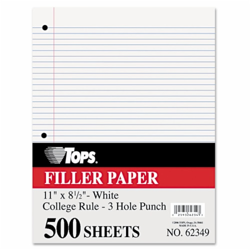 Filler Paper, 3-Hole, 8.5 x 11, Medium/College Rule, 500/Pack 62349 Perspective: front