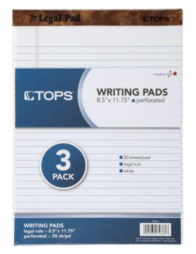 Tops™ Perforated White Rule Legal Pad - White - 50 Sheets Perspective: front