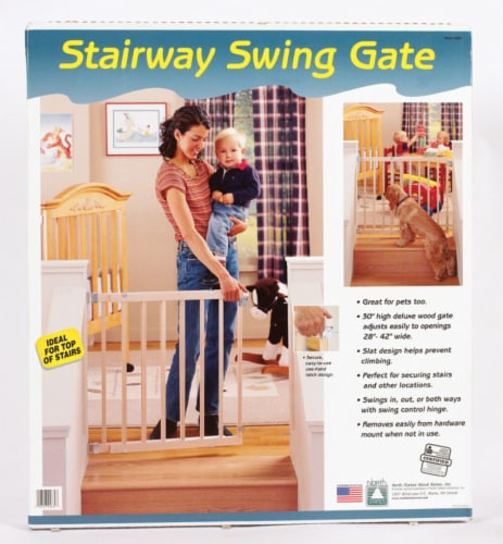 North States White 30 in. H x 28-42 in. W Wood Child Safety Gate - Case Of: 1; Each Pack Qty: Perspective: front