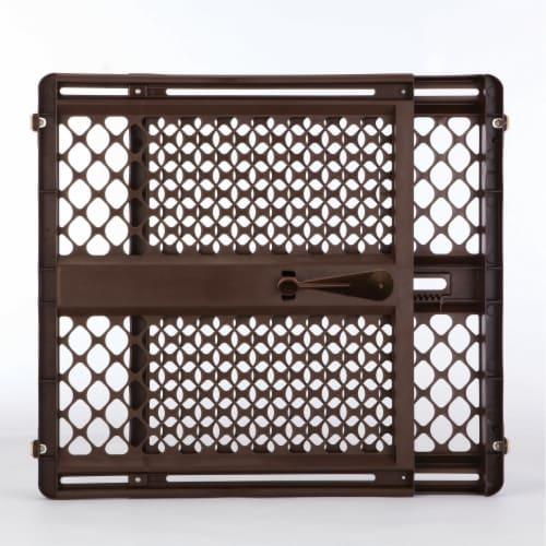MyPet 8739 Essential Pet Gate Wide Doorway Dog Gate, Brown Perspective: front