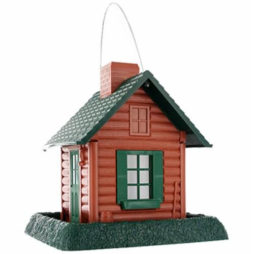 North States Log Cabin Bird Feeder, Lightweight Plastic Perspective: front