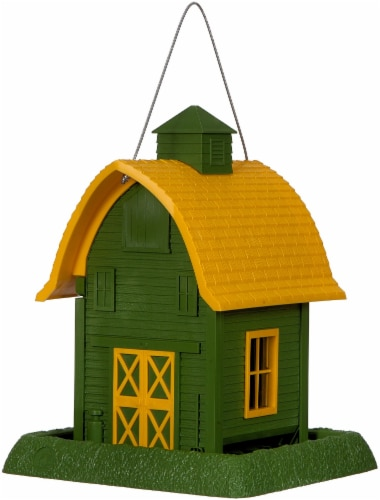 North State Birdfeeder Barn - Green/Yellow Perspective: front