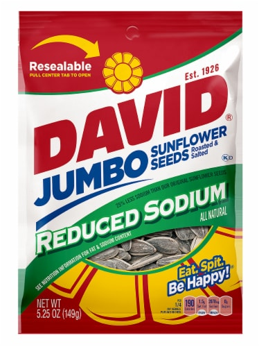 David Reduced Sodium Jumbo Sunflower Seeds Perspective: front