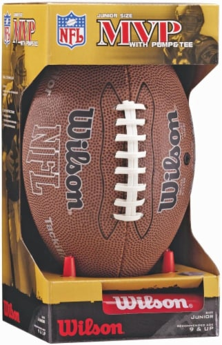 Wilson® NFL MVP Junior Football with Pump and Tee - Brown Perspective: front