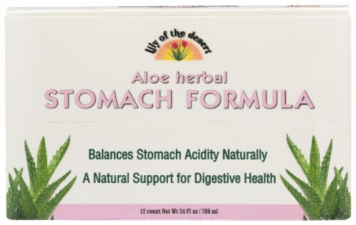 Lily of the Desert Aloe Fresh Mint Herbal Stomach Formula Shots 12 Count Perspective: front