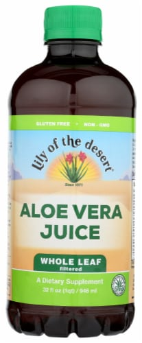 Lily of the Desert Organic Aloe Vera Juice Whole Leaf Dietary Supplement Perspective: front