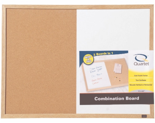 Quartet Wood Finish Combination Dry Erase and Bulletin Board Perspective: front