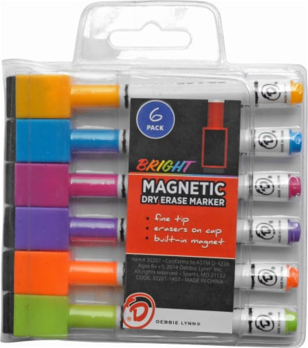 Debbie Lynn® Magnetic Fine Tip Dry Assorted Erase Markers Perspective: front