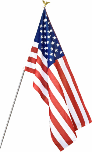 Annin Flagmakers American Flag Set with Steel Pole Perspective: front