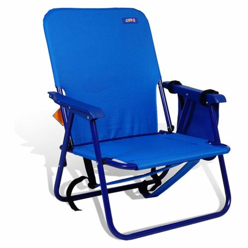 Copa Backpack Single Position Folding Aluminum Beach Lounge Chair, Dark Blue Perspective: front