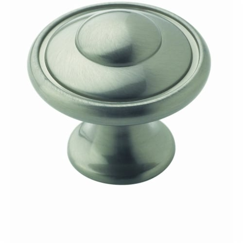 Amerock Metal Finishes Collection Round Cabinet Knob - Satin Nickel Perspective: front